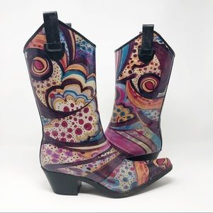 Madeline Puddles Artsy Cowboy/Cowgirl Rainboot